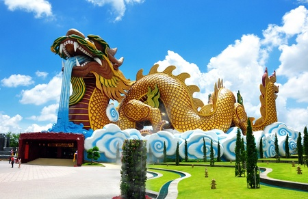 A Big dragon at a Chinese style city pillar shrine in Suphan Buri Province , Thailand photo