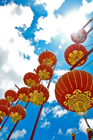a red lantern with blue sky background Stock Photo - 13149801