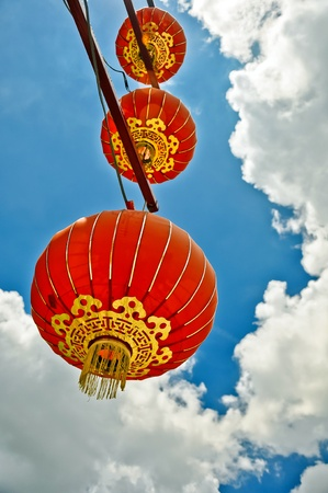 a red lantern with blue sky background