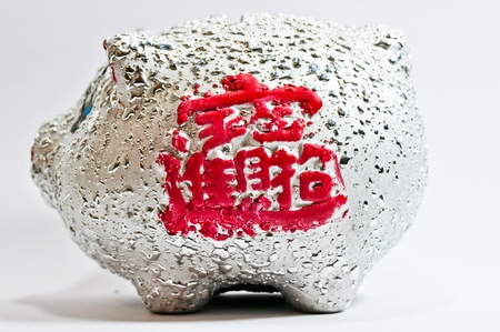 silvery piggy bank on white background Stock Photo - 13184485