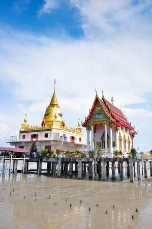 samutprakarn: a big temple in the sea with sky background,Wat Hong Thong,samutprakarn,thailand Stock Photo