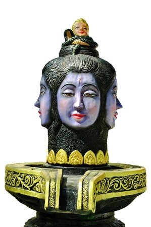 trust god: 4-faces Brahma statue  at Bot Don Phrom temple, Hinduism,Nonthaburi,Thailand Stock Photo