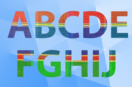 silk cloth  pattern on letters  A-J  with abstract background photo
