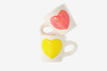 group of cups of heart , cups of lover  Stock Photo