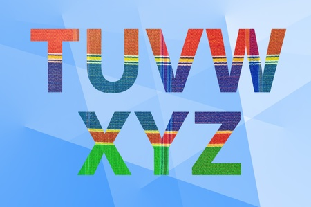 silk cloth  pattern on letters  T-Z  with abstract background photo