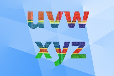 silk cloth  pattern on letters  u-z  with abstract background photo