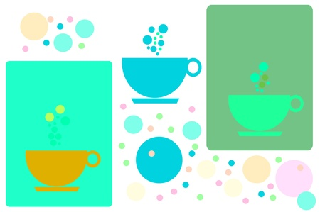 drinkable: illustration  of  coffee cups   on  background  Stock Photo