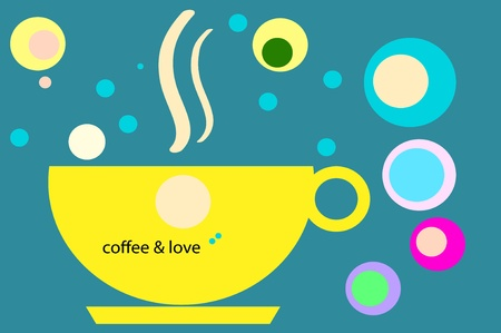 calm down: illustration  of  coffee cups   on  background  Stock Photo