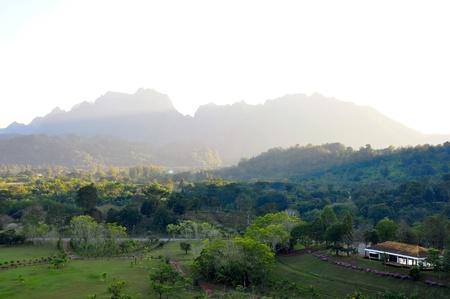softly fog spread over small hills in the evening  ,wachiralongkorn dam ,kanchanaburi,thailand Stock Photo - 14602082