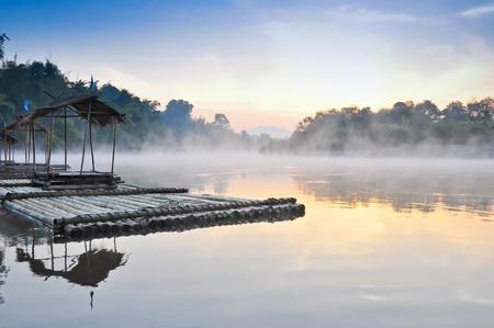 floating house and fog in the morning ,Kwae Noi river  ,Kanchanaburi,Thailand Stock Photo - 14783470