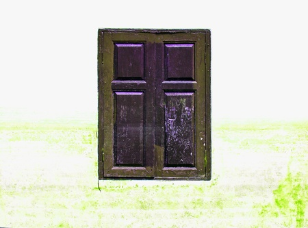 wooden window on background photo