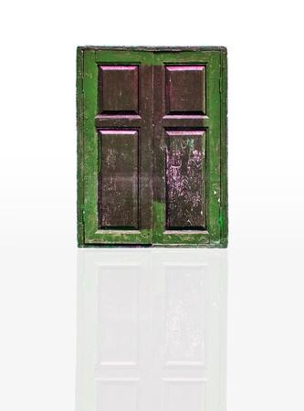 isolation of wooden window on background photo