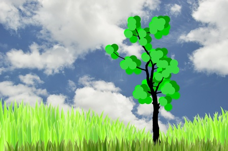 grasses: the tree  and  green grasses on blue sky background