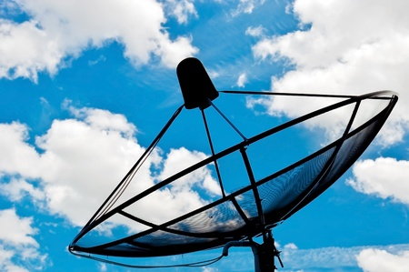 artificial satellite:  satellite dish  with blue sky background