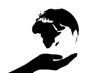 Image of hand under the world  on background save the world with ourselves   Stock Photo - 15278379