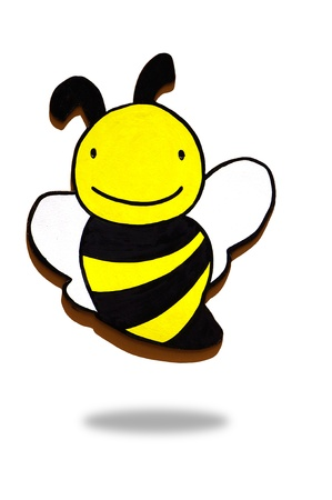 a pretty wooden bee on background Stock Photo - 15595993