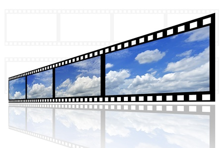 slide show: cloud and sky background on film strip