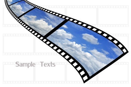 cloud and sky background on film strip photo