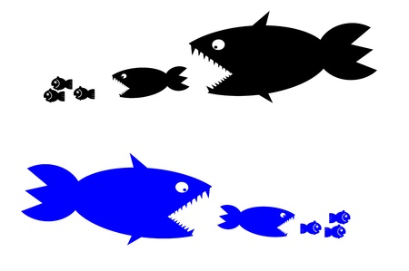 chain food: food chain, a small fish is food for big fish,metaphorical  Stock Photo