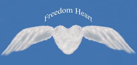 heart cloud shape with wing  on blue sky ,freedom heart  photo