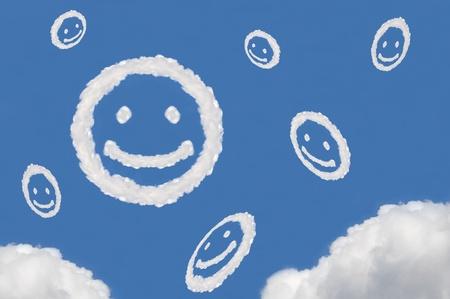cloud on blue background,idea box,cloud box,circle shape,smile face Stock Photo - 15830865
