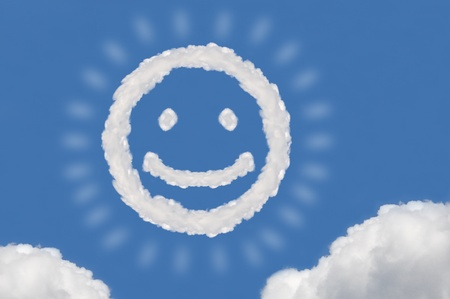 cloud on blue background,idea box,cloud box,circle shape,smile face Stock Photo - 15830838