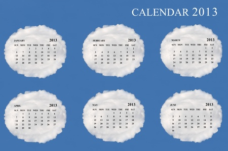 2013 calendar  made form cloud  with blue sky background Stock Photo - 15830870