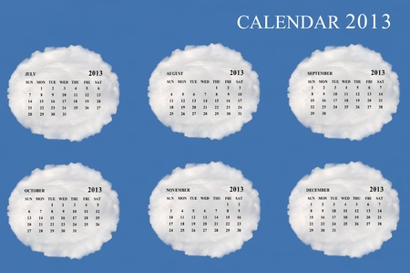 2013 calendar  made form cloud  with blue sky background photo