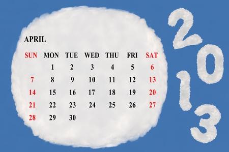2013 calendar  made form cloud  with blue sky background Stock Photo - 15830847