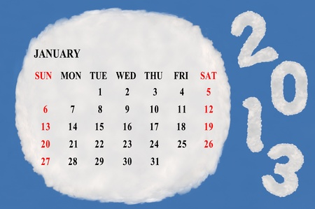 2013 calendar  made form cloud  with blue sky background Stock Photo - 15830856
