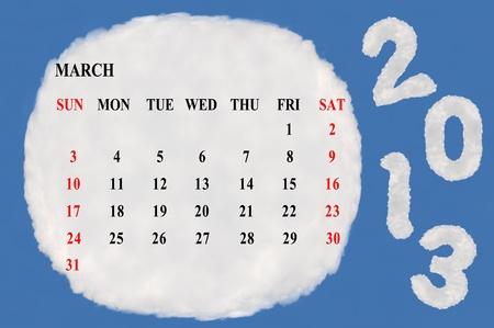 2013 calendar  made form cloud  with blue sky background Stock Photo - 15830853