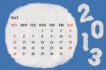 2013 calendar  made form cloud  with blue sky background Stock Photo - 15830848
