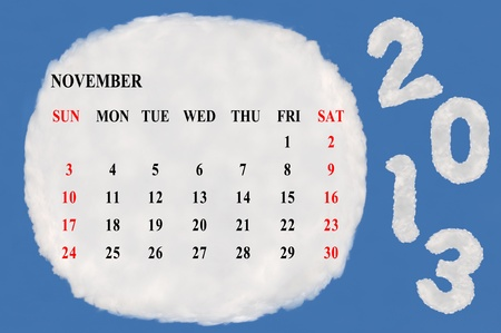 2013 calendar  made form cloud  with blue sky background Stock Photo - 15830855