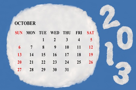 2013 calendar  made form cloud  with blue sky background Stock Photo - 15830859