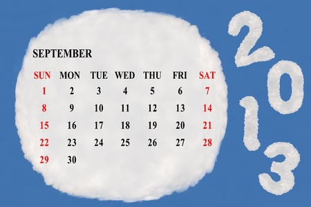 2013 calendar  made form cloud  with blue sky background Stock Photo - 15830858