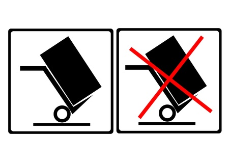 carefulness: warning sign on the box ,move this side,do not move this side  Illustration