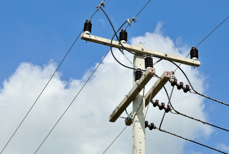 cement pole: electricity posts  with blue sky background