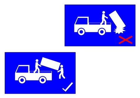 carefulness: warning sign on the box