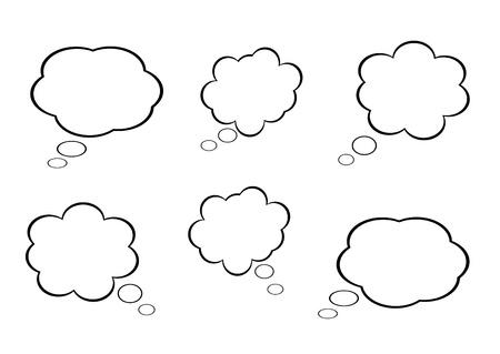 clouds cartoon: nube icono, caja de textos, caja de ideas, diagrama de flujo, vector Vectores