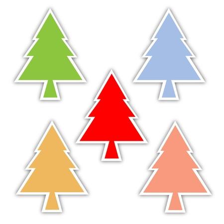 arbol de pino: �rbol de pino y fondo caja de regalo, caja de regalo juego de colores, felices vacaciones, vector Vectores