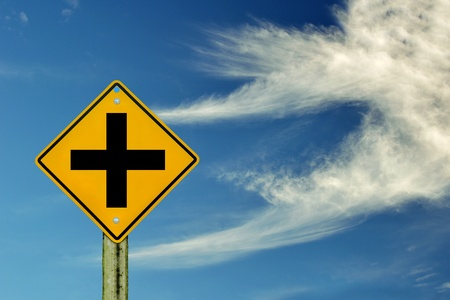 road sign on sky background,junction sign,intersection, crossroad  photo