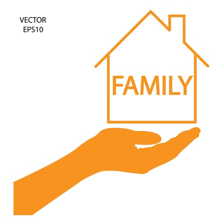 out of production: home under the hands icon,business symbol,concept of home decoration,concept of family