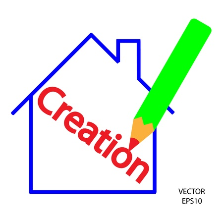 home icon,color pencil icon, business symbol,concept of creation,drawing by color pencil Stock Vector - 18109587