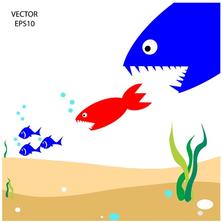 chain food: food chain, a small fish is food for big fish,metaphorical
