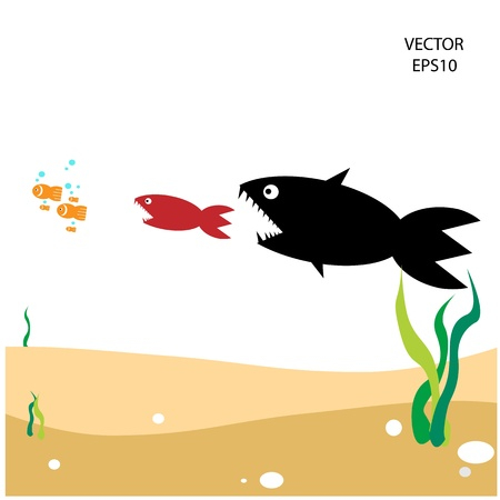 food chain, a small fish is food for big fish,metaphorical Vector