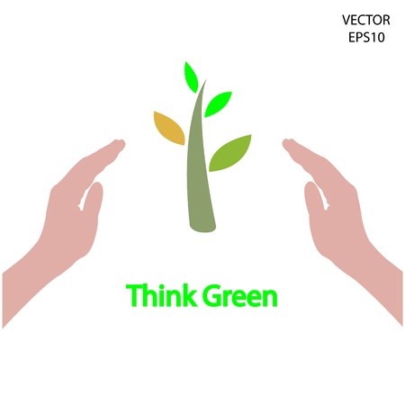 small tree and hands symbol,vector  Vector