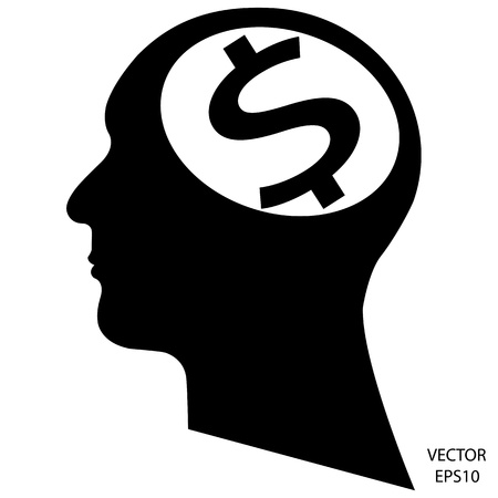 Silhouette of a head on white background Vector