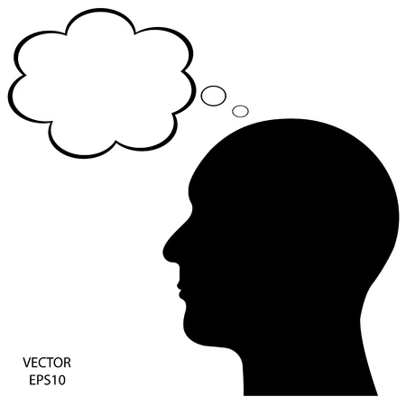 contemplation: Silhouette of a head on white background Illustration