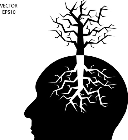 tree diagram: Silhouette di una testa su sfondo bianco, il concetto di business icona, simbolo di affari, vettore Vettoriali