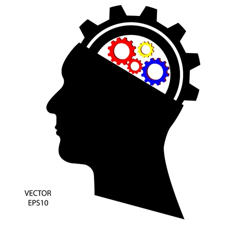 Silhouette of a head on white background,the concept of business icon,business symbol,vector Stock Vector - 18092561